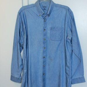 L.L. Bean Chambray Denim Button Down Shirt L Tall